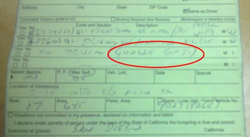 グーグルグラス装着中は運転もダメ、カリフォルニア州で違反キップを切られる
