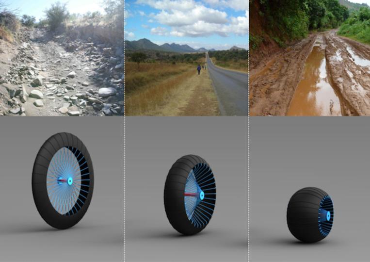 ガレキ道から泥道まで走れる、幅の変わるタイヤのコンセプト(動画あり)