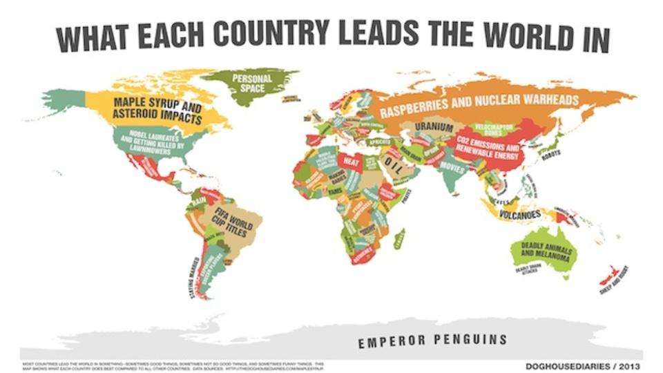 各国の「世界一」を一望できるワールドマップ