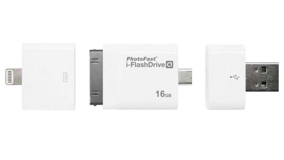 wi-fiのない環境でもデバイス間のデータ移動がラクラク! 4種類のコネクタがついたフラッシュメモリ