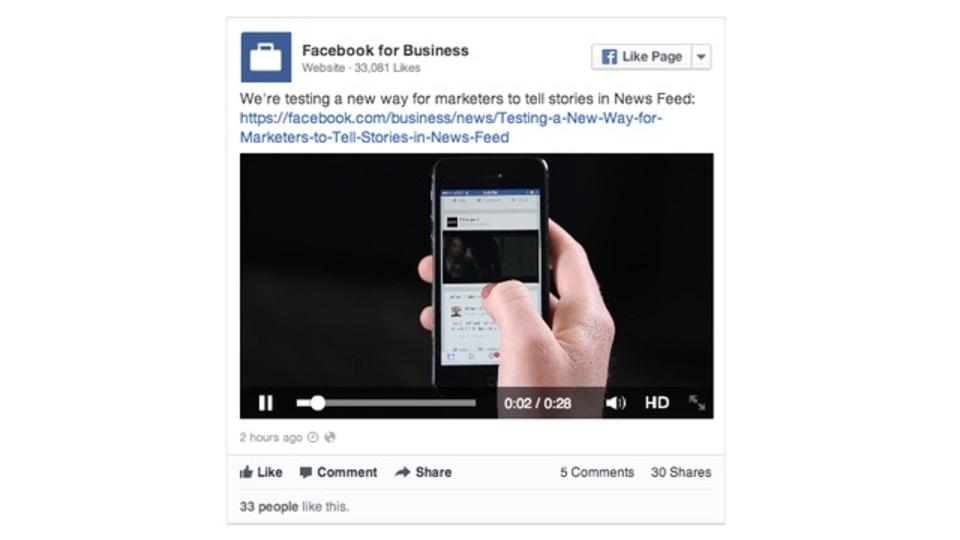 フェイスブックに動画広告、今週木曜日からテスト掲載開始