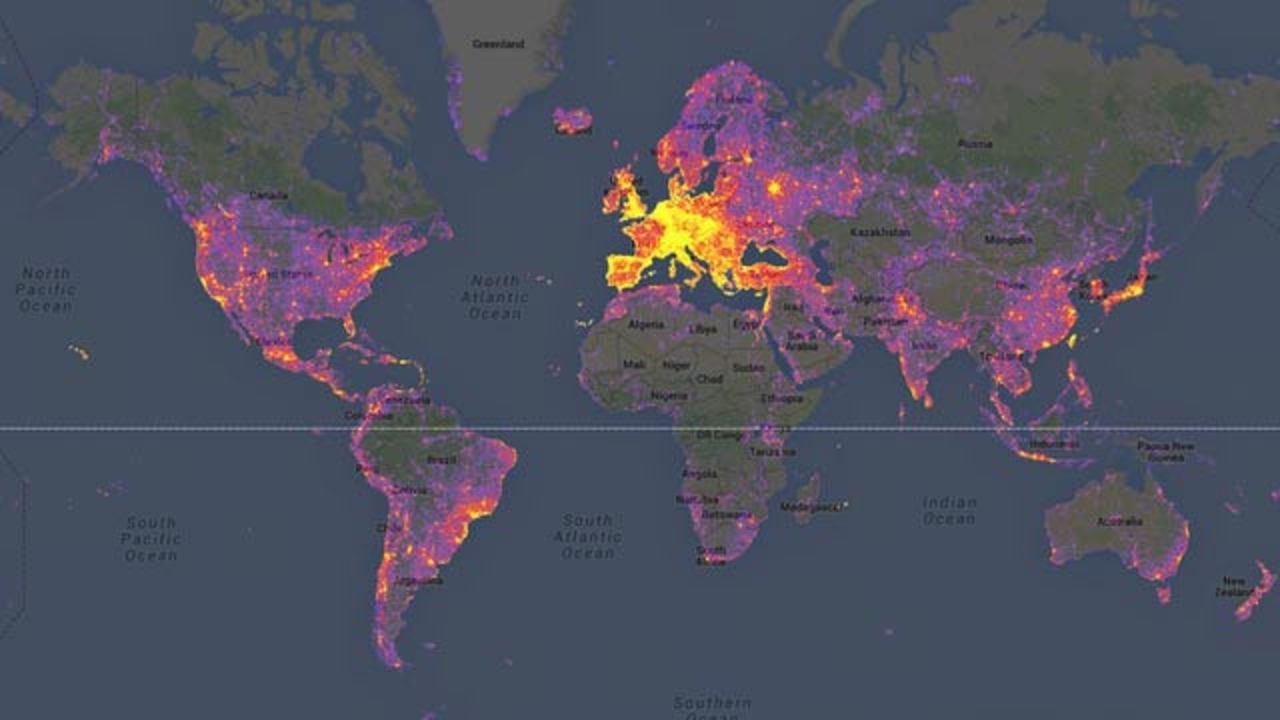 世界で最も写真を撮られている場所がわかるマップ