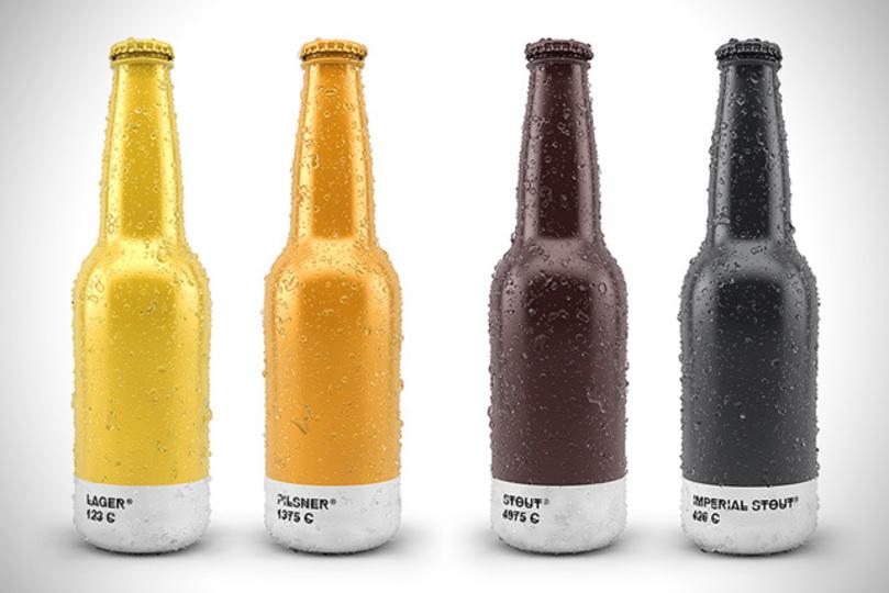 琥珀色の液体、パントーン風なビールパッケージ