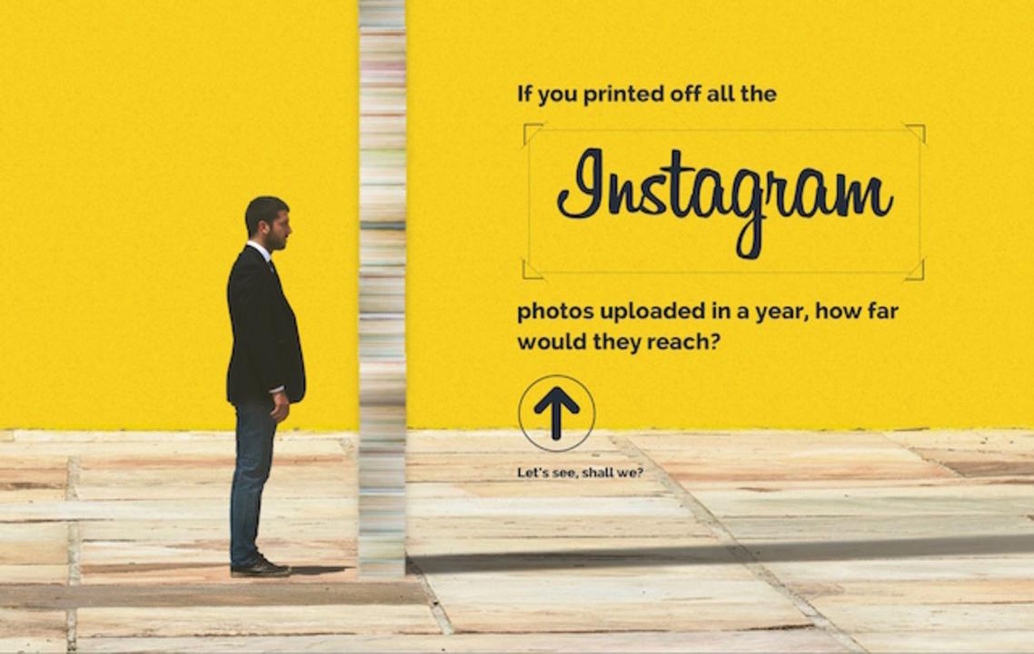Instagramで一年間にアップロードされた写真を全て積み上げると…