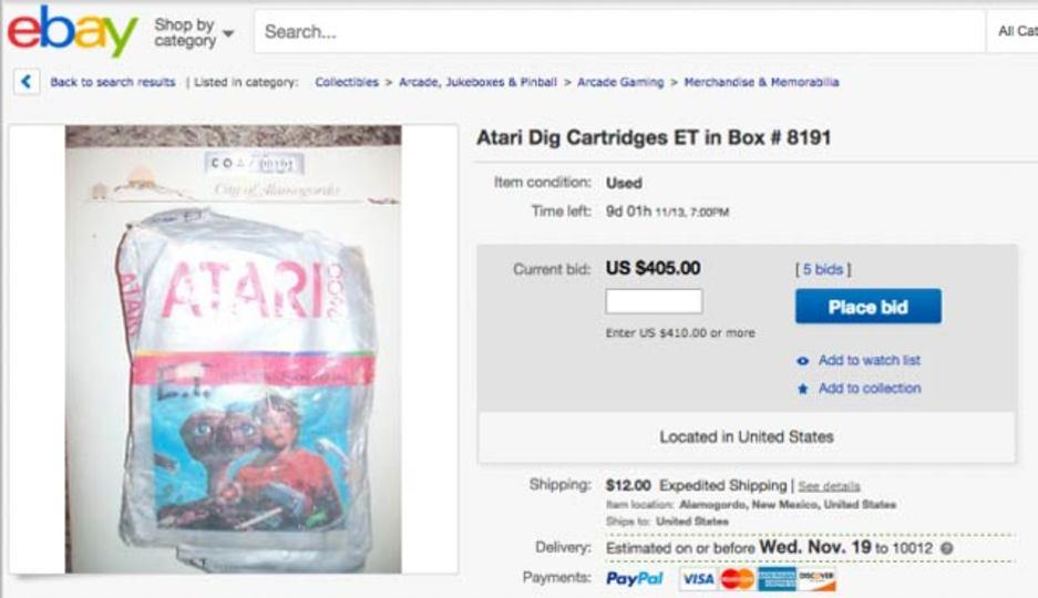 アタリのゲームカセット「E.T.」がオークションに。ただ今6万円弱