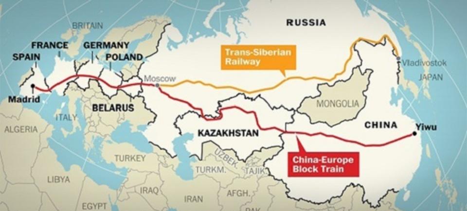 世界最長? 中国-スペイン間を結ぶ貨物輸送路