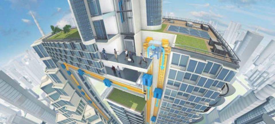 未来のエレベーターは磁気浮上式で縦にも横にも動く