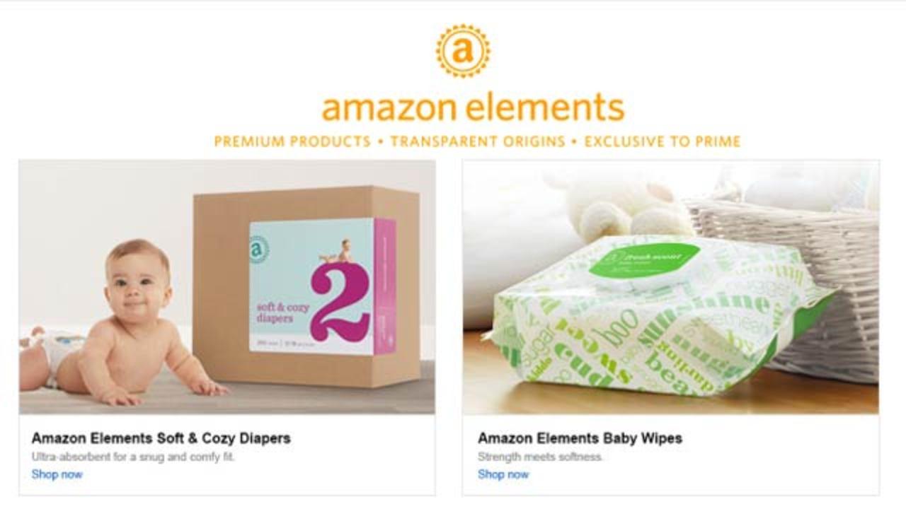 アマゾンに独自商品新ラインナップ「Amazon Elements」、まずはオムツを販売