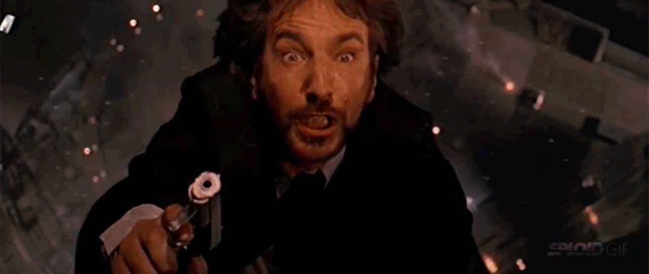 """俳優アラン・リックマンが映画「ダイ・ハード」で「あ""""ぁぁー?」な表情を見せた理由"""