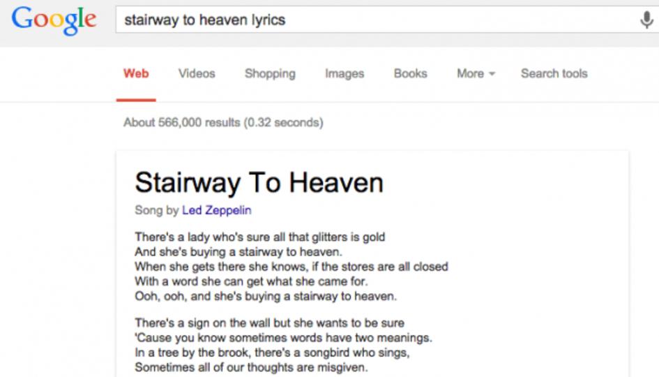 グーグルで曲名に「歌詞」を付けて検索するだけで、直接表示・購入ができるように