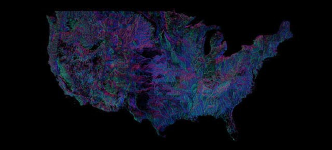 全米の川すべてを、その流れる方向別に色づけすると