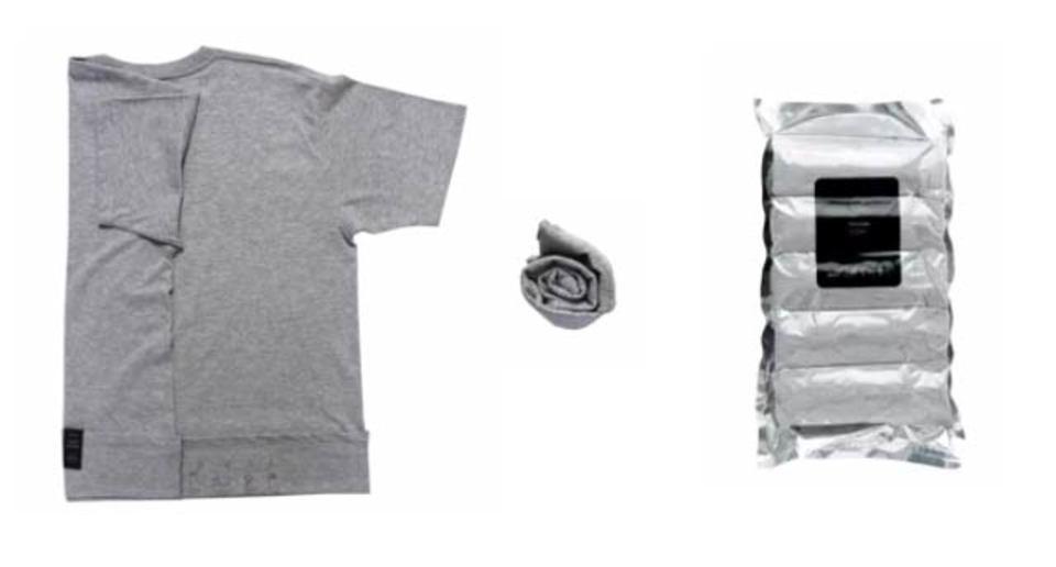 旅行の心強い味方。真空パックに入ったパッキングらくらくTシャツ