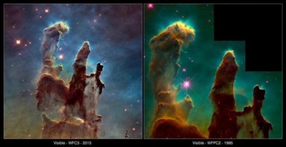 ハッブル宇宙望遠鏡が20年ぶりに撮影した「わし星雲」