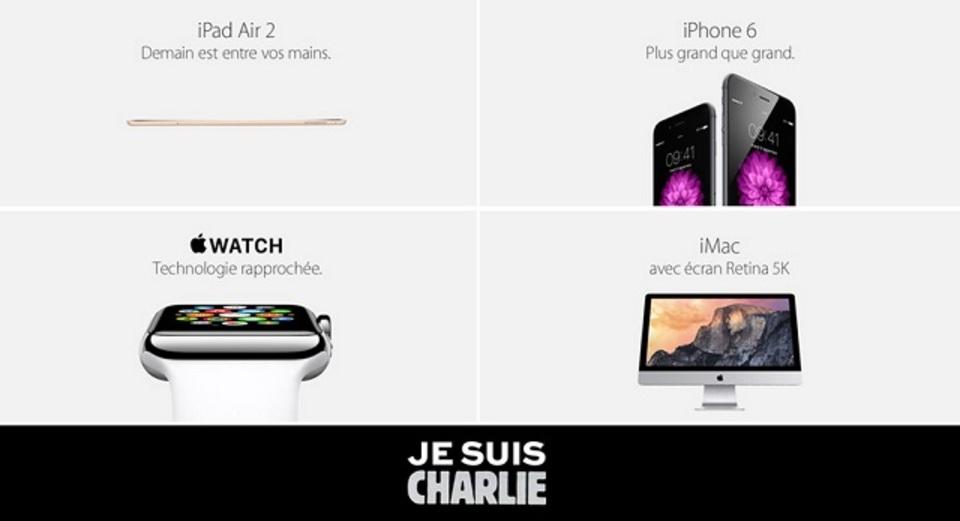 仏アップルオンラインストア、新聞社テロ事件に対する支援バナーを掲載