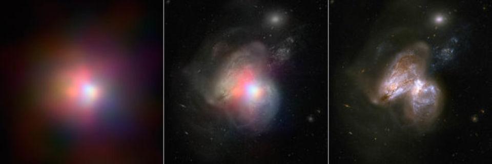 2つの銀河とブラックホールが衝突した瞬間