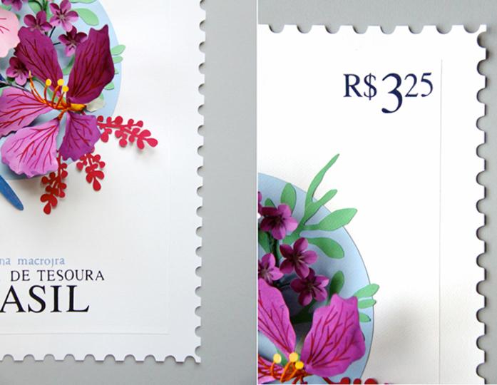 とってもきれいな貼り絵の切手