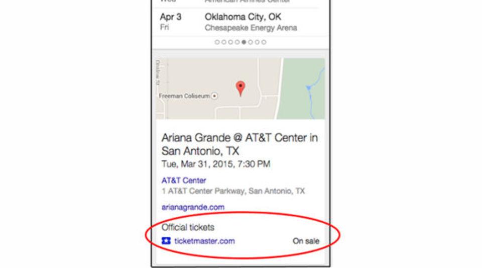 Google検索ページからイベントチケットの購入も可能に