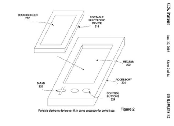 まるでDS? iPhoneをはめ込むゲームコントローラー、アップルが新特許取得