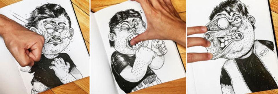 自分の描いたキャラクターとリアルに殴り合う男