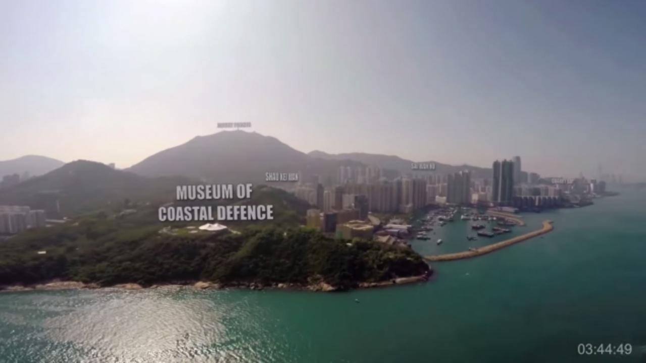 香港を横断するドローンからの眺めが素晴らしい