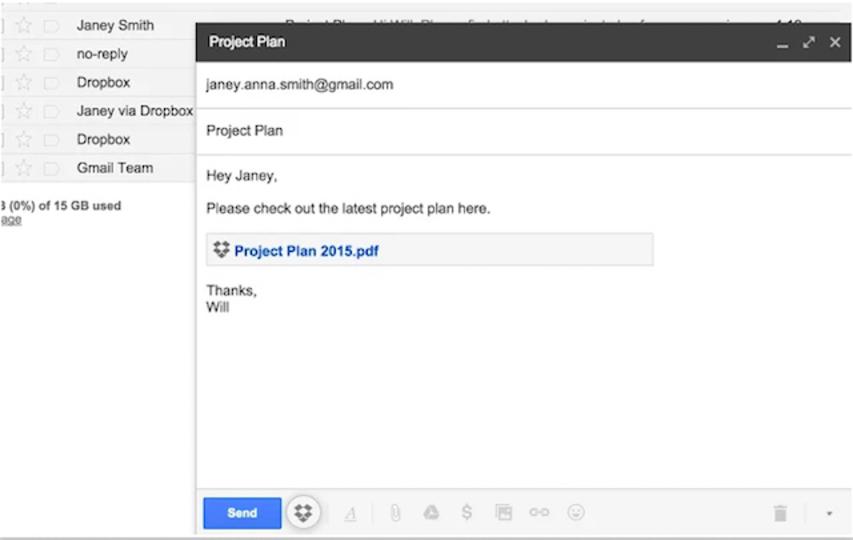 Gmailからそのままファイル添付。Dropbox for Gmail