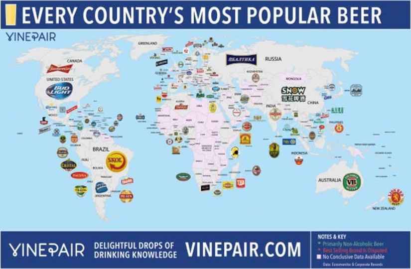 世界の人気ビールマップ
