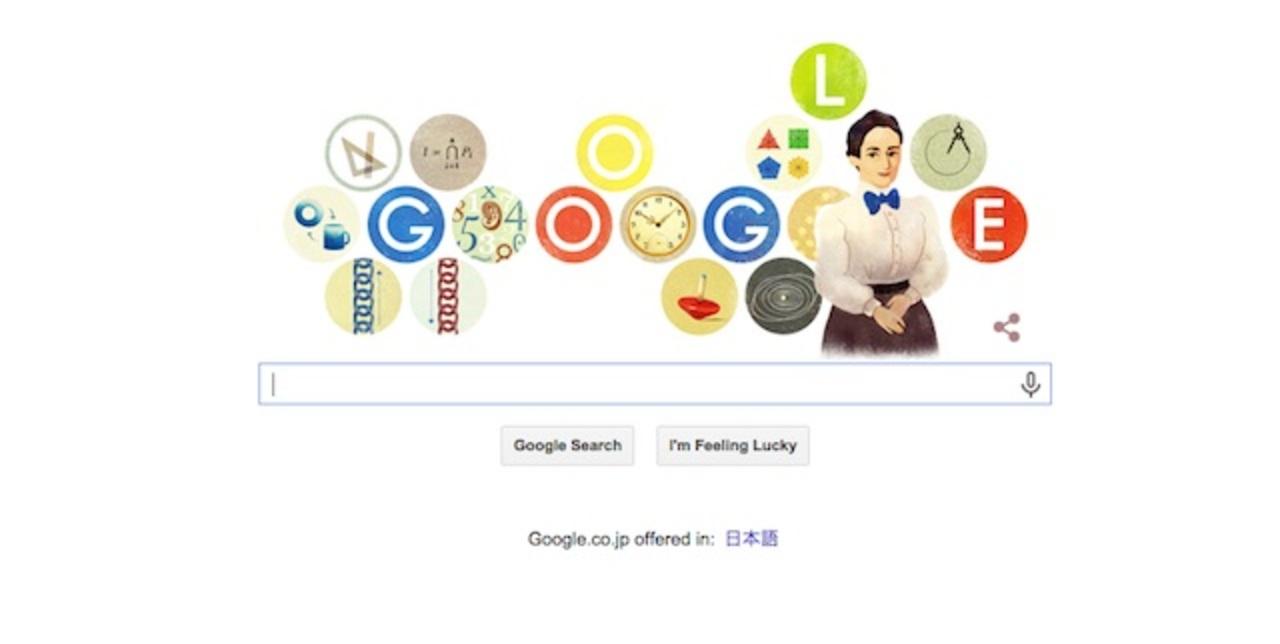 今日23日のグーグル・ロゴは「最も偉大な数学者」エミー・ネーター生誕記念イラスト