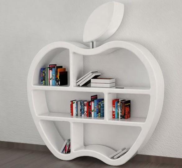 アップル大好きな人なら欲しくなるアップルロゴの本棚
