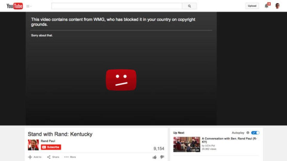 大統領選立候補のランド・ポール、動画をアップしたその日にYouTubeから削除される
