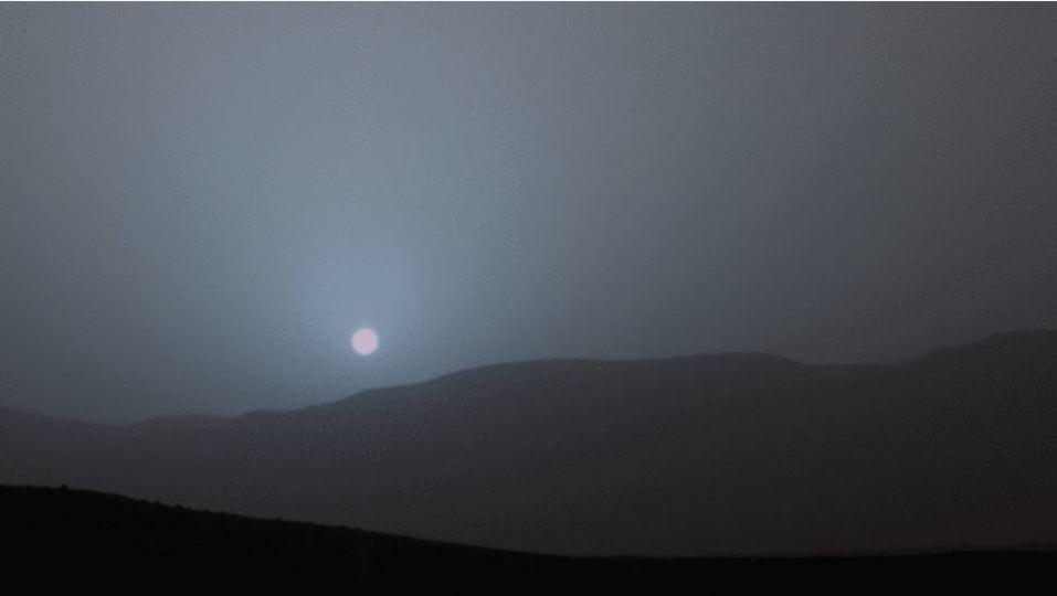 火星の日が沈む様子がなんとも幻想的
