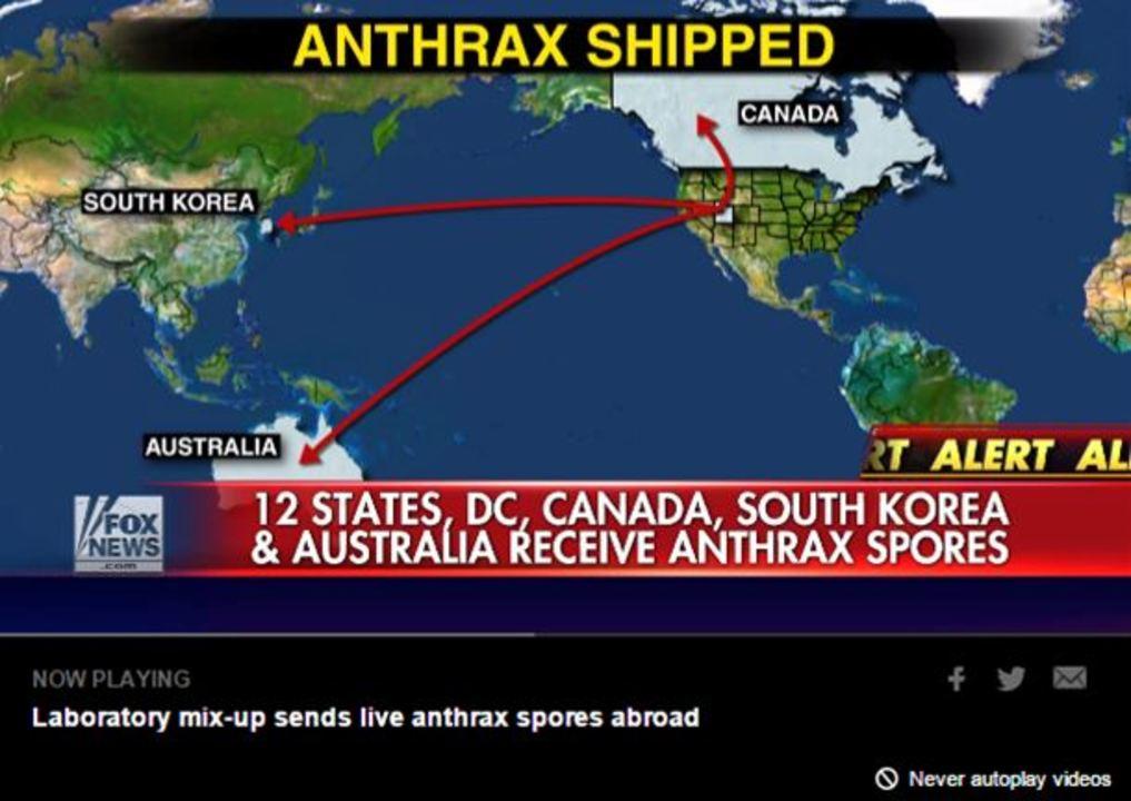 米国防省がうっかり炭疽菌を韓、加、豪に送る。誤送先51ヶ所に