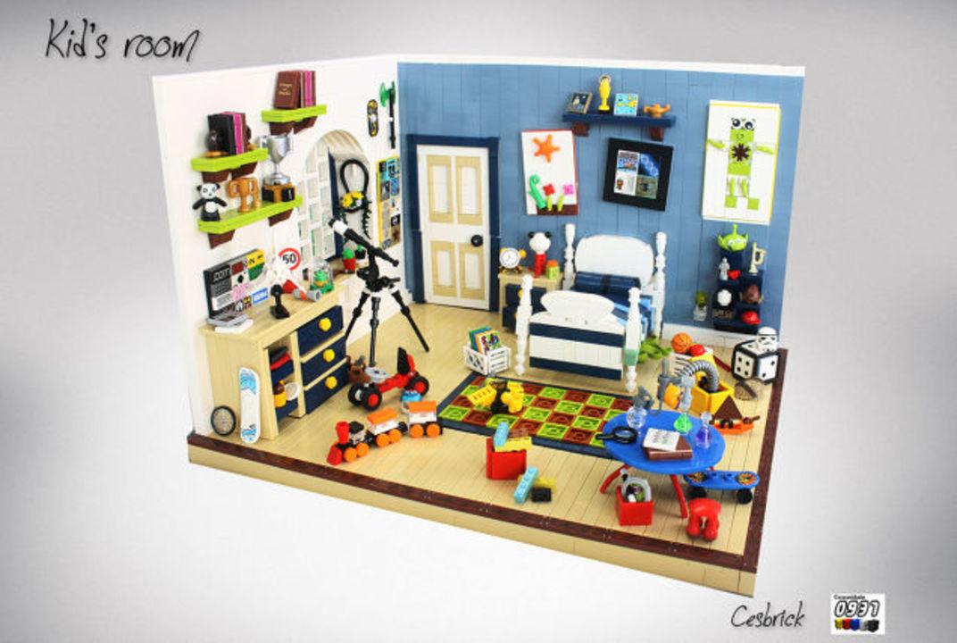とてもレゴには見えない、細かく作りこまれた子供部屋のジオラマ