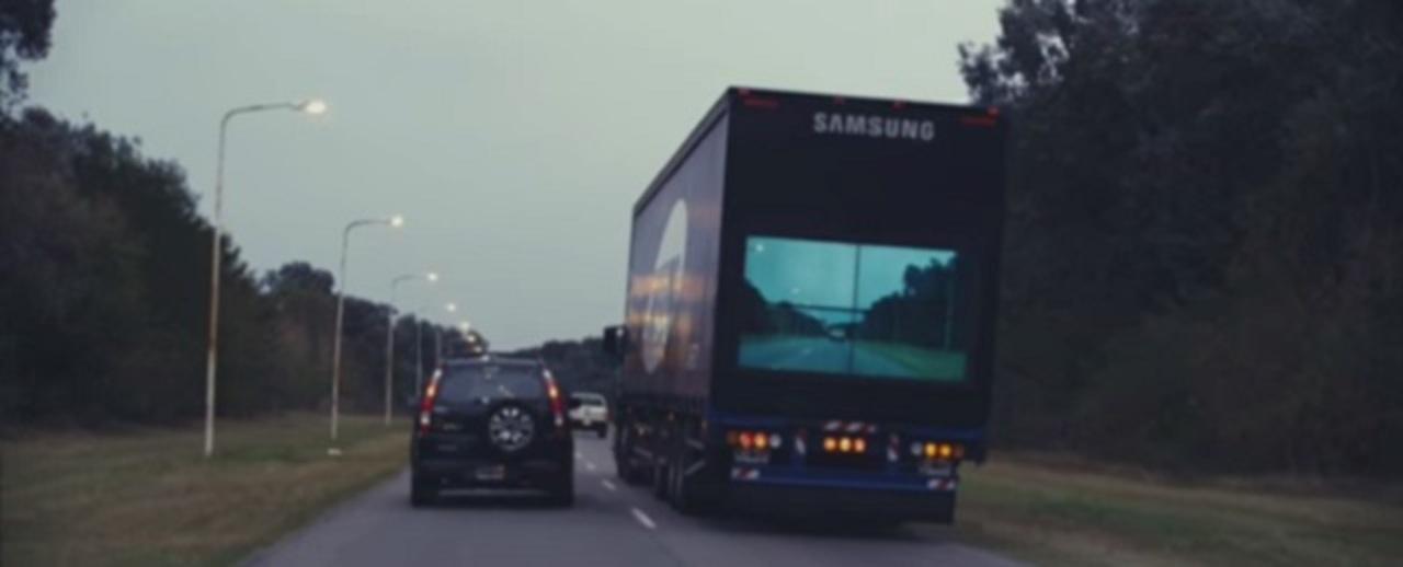 """トラックの後ろから前方が見える! サムスンが""""透明""""車両を開発中"""
