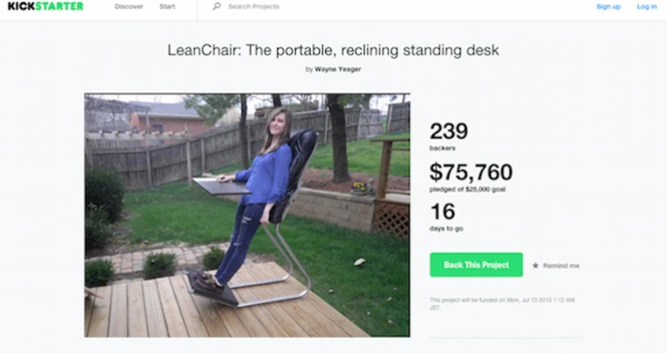 立って仕事できる椅子「LeanChair」