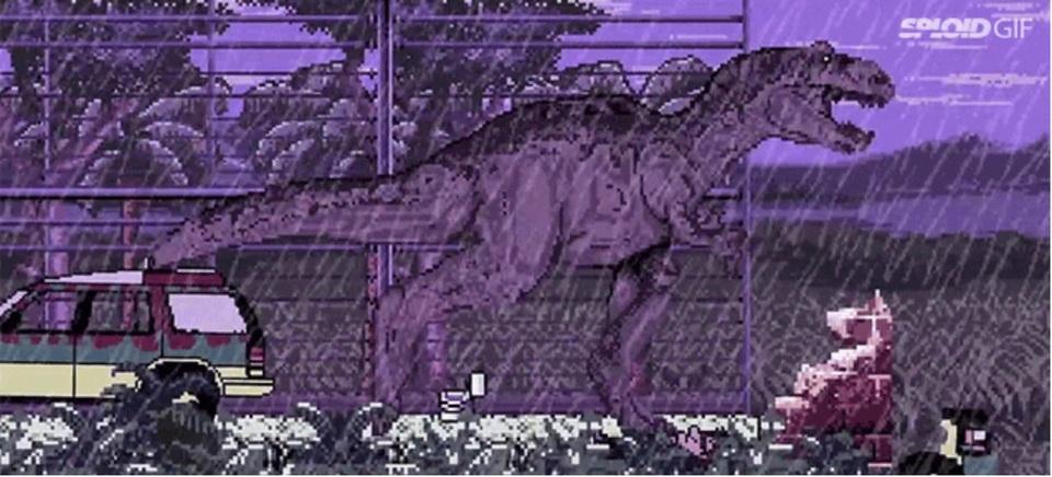 映画「ジュラシック・パーク」を8ビットのアニメで再現
