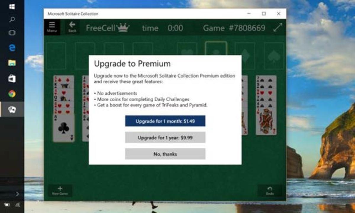 Windows 10、ソリティアは有料で年間10ドル