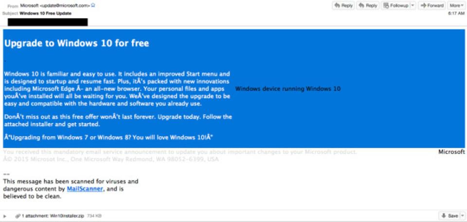 Windows 10を装ったスパムメールに注意