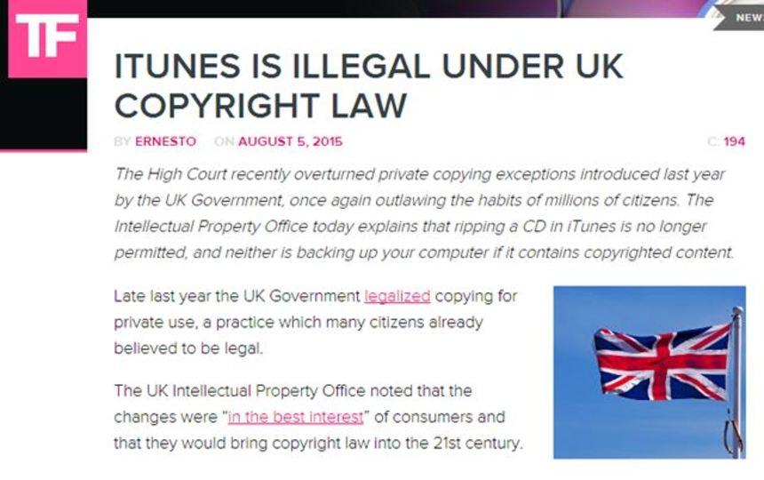 英国でiTunesが違法に