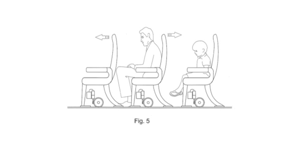 前後に移動する飛行機の座席のデザインが最悪