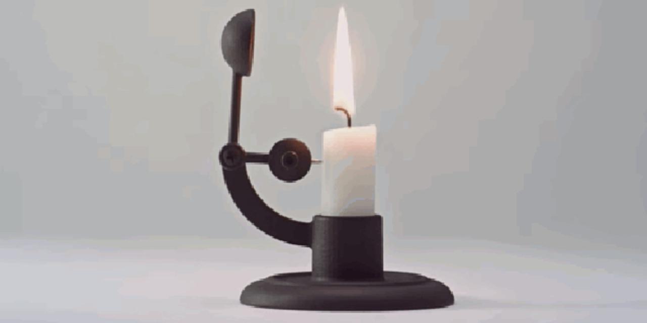 キャンドルが短くなったら自動で火を消してくれる、見た目も美しいキャンドルホルダー