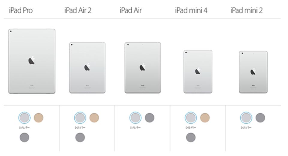 iPad mini 4が追加されてmini 3がいなくなった