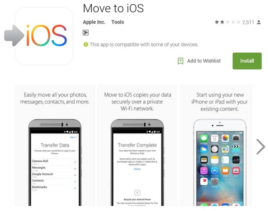 アップル初のAndroidアプリはiOSへの移行ツール