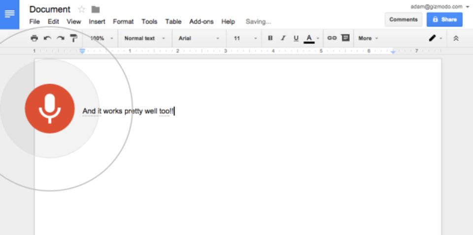 Google Docsで音声入力が可能に