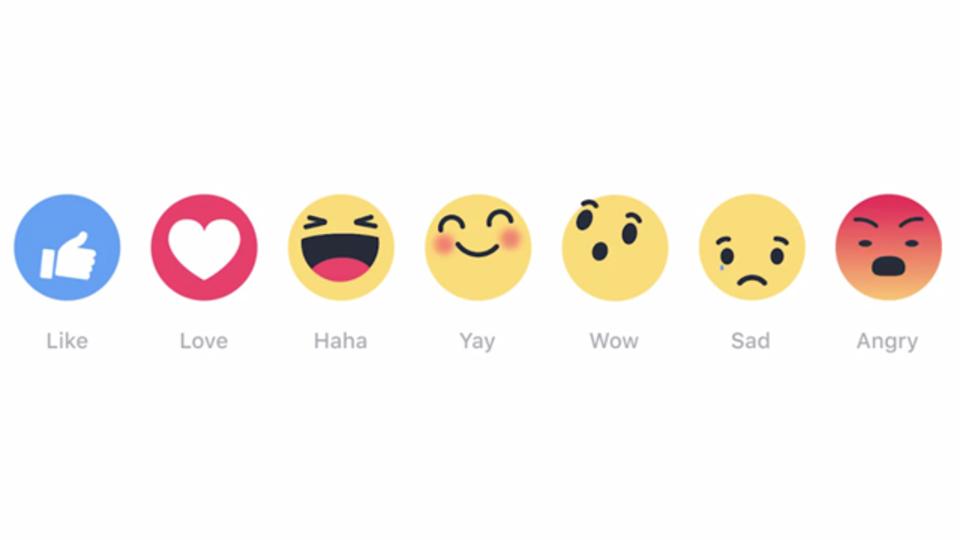 フェイスブックの「よくないね!」ボタンが感情を表す絵文字になりました