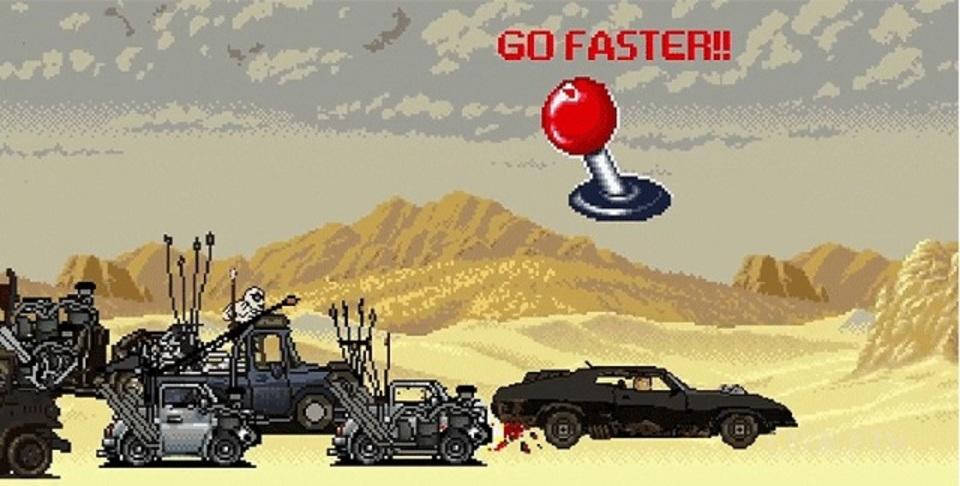 今度はレトロゲーム風。「マッドマックス 怒りのデス・ロード」のパロディ動画