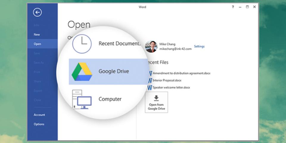 Microsoft OfficeとGoogleドライブを繋ぐプラグイン