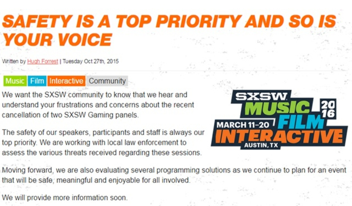 SXSWのゲーマーゲートとネットいじめ討論会が脅迫で取りやめに