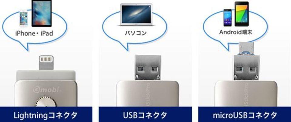 iPhone、Android、PCでデータを共有できるUSBメモリ