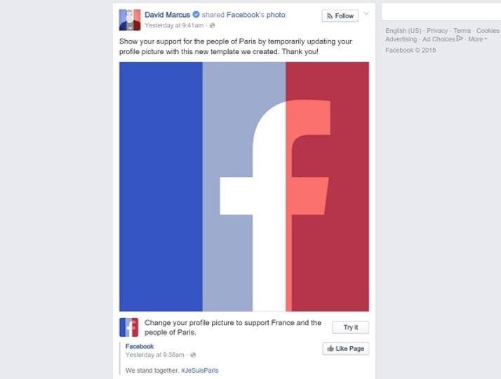 フェイスブックのプロフィールが、パリへのサポート仕様に