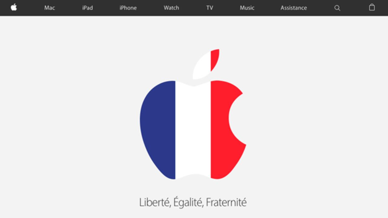 アップルのサイト、ブラックリボンからトリコロールのアップルロゴに掲載画像が変わる
